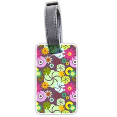 Floral Seamless Rose Sunflower Circle Red Pink Purple Yellow Luggage Tags (one Side)  by Alisyart