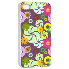 Floral Seamless Rose Sunflower Circle Red Pink Purple Yellow Apple Iphone 4/4s Seamless Case (white) by Alisyart