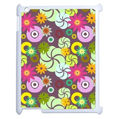 Floral Seamless Rose Sunflower Circle Red Pink Purple Yellow Apple Ipad 2 Case (white) by Alisyart