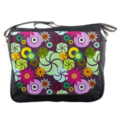 Floral Seamless Rose Sunflower Circle Red Pink Purple Yellow Messenger Bags by Alisyart