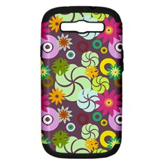 Floral Seamless Rose Sunflower Circle Red Pink Purple Yellow Samsung Galaxy S Iii Hardshell Case (pc+silicone)