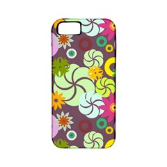 Floral Seamless Rose Sunflower Circle Red Pink Purple Yellow Apple Iphone 5 Classic Hardshell Case (pc+silicone)