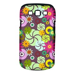 Floral Seamless Rose Sunflower Circle Red Pink Purple Yellow Samsung Galaxy S Iii Classic Hardshell Case (pc+silicone)