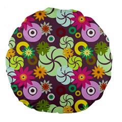 Floral Seamless Rose Sunflower Circle Red Pink Purple Yellow Large 18  Premium Round Cushions