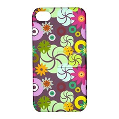 Floral Seamless Rose Sunflower Circle Red Pink Purple Yellow Apple Iphone 4/4s Hardshell Case With Stand by Alisyart
