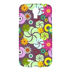 Floral Seamless Rose Sunflower Circle Red Pink Purple Yellow Samsung Galaxy S4 I9500/i9505 Hardshell Case by Alisyart