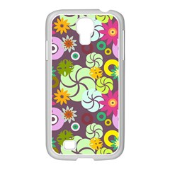 Floral Seamless Rose Sunflower Circle Red Pink Purple Yellow Samsung Galaxy S4 I9500/ I9505 Case (white)
