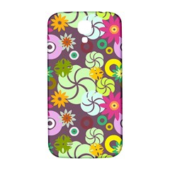 Floral Seamless Rose Sunflower Circle Red Pink Purple Yellow Samsung Galaxy S4 I9500/i9505  Hardshell Back Case