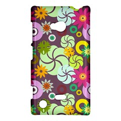 Floral Seamless Rose Sunflower Circle Red Pink Purple Yellow Nokia Lumia 720 by Alisyart