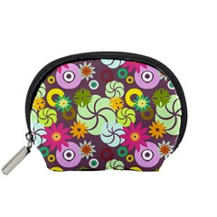 Floral Seamless Rose Sunflower Circle Red Pink Purple Yellow Accessory Pouches (small)  by Alisyart