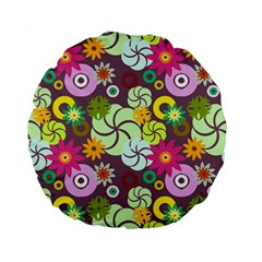 Floral Seamless Rose Sunflower Circle Red Pink Purple Yellow Standard 15  Premium Flano Round Cushions by Alisyart