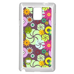 Floral Seamless Rose Sunflower Circle Red Pink Purple Yellow Samsung Galaxy Note 4 Case (white)