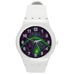 Light Cells Colorful Space Greeen Round Plastic Sport Watch (m) by Alisyart