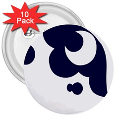 Month Blue 3  Buttons (10 Pack)