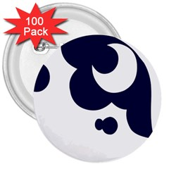 Month Blue 3  Buttons (100 Pack)