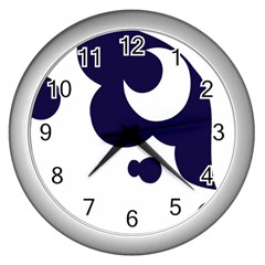 Month Blue Wall Clocks (silver)