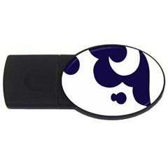 Month Blue Usb Flash Drive Oval (2 Gb)