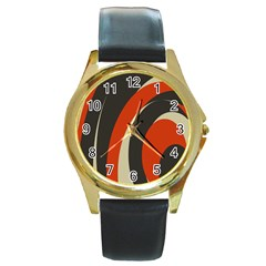 Mixing Gray Orange Circles Round Gold Metal Watch by Alisyart