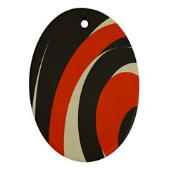 Mixing Gray Orange Circles Oval Ornament (Two Sides)