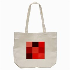 Red Flag Plaid Tote Bag (cream)