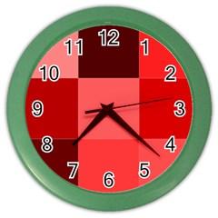 Red Flag Plaid Color Wall Clocks by Alisyart
