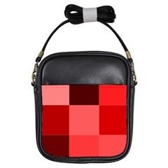 Red Flag Plaid Girls Sling Bags by Alisyart