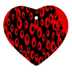 Scatter Shapes Large Circle Black Red Plaid Triangle Ornament (heart) by Alisyart