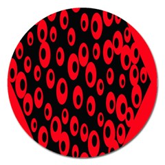 Scatter Shapes Large Circle Black Red Plaid Triangle Magnet 5  (round) by Alisyart