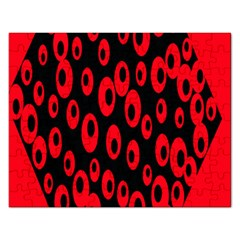 Scatter Shapes Large Circle Black Red Plaid Triangle Rectangular Jigsaw Puzzl by Alisyart