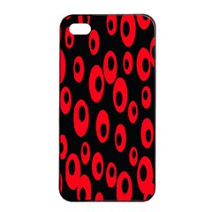 Scatter Shapes Large Circle Black Red Plaid Triangle Apple Iphone 4/4s Seamless Case (black)