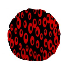Scatter Shapes Large Circle Black Red Plaid Triangle Standard 15  Premium Round Cushions
