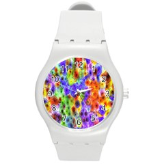 Green Jellyfish Yellow Pink Red Blue Rainbow Sea Purple Round Plastic Sport Watch (m) by Alisyart