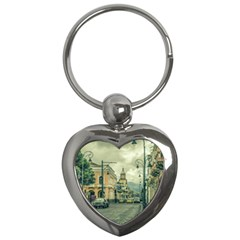 Historic Center Urban Scene At Riobamba City, Ecuador Key Chains (heart)  by dflcprints