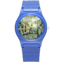 Historic Center Urban Scene At Riobamba City, Ecuador Round Plastic Sport Watch (s) by dflcprints