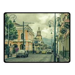 Historic Center Urban Scene At Riobamba City, Ecuador Double Sided Fleece Blanket (small)  by dflcprints