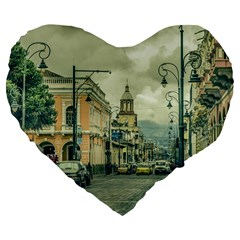 Historic Center Urban Scene At Riobamba City, Ecuador Large 19  Premium Flano Heart Shape Cushions by dflcprints