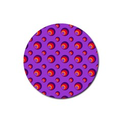 Scatter Shapes Large Circle Red Orange Yellow Circles Bright Rubber Round Coaster (4 Pack)  by Alisyart