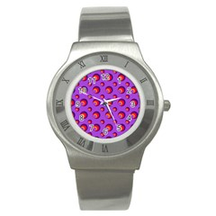 Scatter Shapes Large Circle Red Orange Yellow Circles Bright Stainless Steel Watch by Alisyart