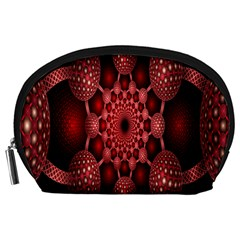 Lines Circles Red Shadow Accessory Pouches (large)  by Alisyart