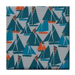 Ship Sea Blue Tile Coasters