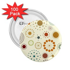 Seamless Floral Flower Orange Red Green Blue Circle 2 25  Buttons (100 Pack)  by Alisyart