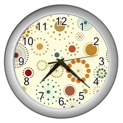 Seamless Floral Flower Orange Red Green Blue Circle Wall Clocks (silver)  by Alisyart