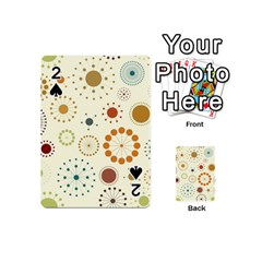 Seamless Floral Flower Orange Red Green Blue Circle Playing Cards 54 (mini)  by Alisyart
