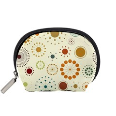 Seamless Floral Flower Orange Red Green Blue Circle Accessory Pouches (small)  by Alisyart