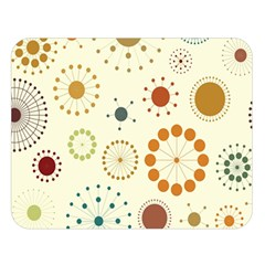 Seamless Floral Flower Orange Red Green Blue Circle Double Sided Flano Blanket (large)  by Alisyart