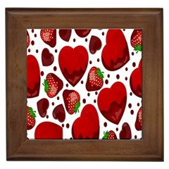 Strawberry Hearts Cocolate Love Valentine Pink Fruit Red Framed Tiles by Alisyart