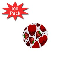 Strawberry Hearts Cocolate Love Valentine Pink Fruit Red 1  Mini Buttons (100 pack)