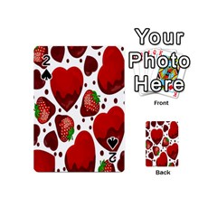 Strawberry Hearts Cocolate Love Valentine Pink Fruit Red Playing Cards 54 (mini)  by Alisyart