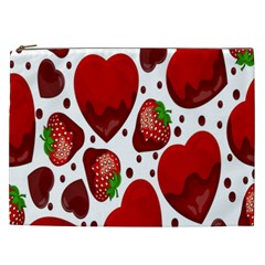 Strawberry Hearts Cocolate Love Valentine Pink Fruit Red Cosmetic Bag (xxl)  by Alisyart