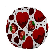 Strawberry Hearts Cocolate Love Valentine Pink Fruit Red Standard 15  Premium Round Cushions